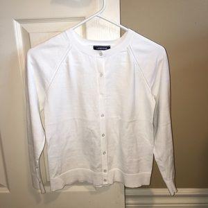 Girls XL Lands End white cardigan